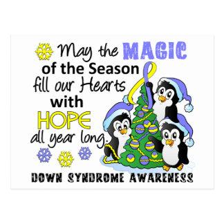 Pingüinos Síndrome de Down del navidad Postal