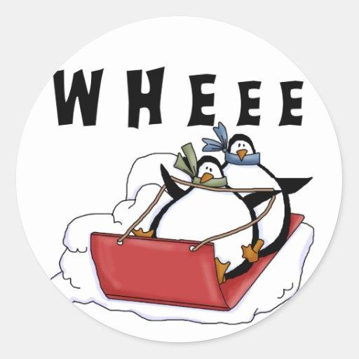 Pingüinos Sledding las camisetas y los regalos Pegatina Redonda