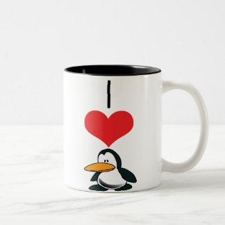 pingüinos taza de dos tonos