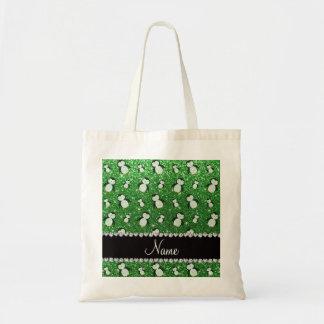 Pingüinos verdes conocidos personalizados del bolsa tela barata