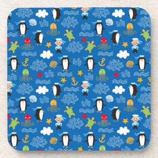 Pingüinos y marineros posavasos de bebidas