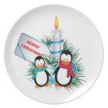 Pingüinos y navidad de la vela de encargo plato de comida