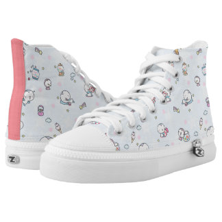 Pinguins and Bubble Gum Ball Machine Print High-Top Sneakers