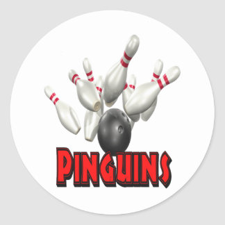 Pinguins Bowling Classic Round Sticker