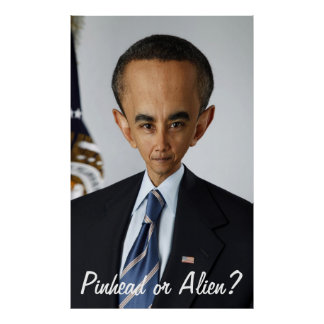 Pinhead or Alien? Funny Anti-Obama Portrait Poster