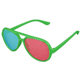 Pinhole Party Glasses with Red and Blue Lens Aviator Sunglasses