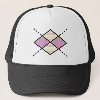 Pink-05 Argyle Pattern pink candy stripes Trucker Hat