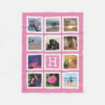 Pink 11 Photo Collage Mosaic Square Frame Monogram Fleece Blanket