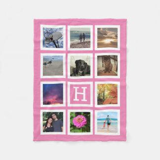 Pink 11 Photo Collage Mosaic Square Frame Monogram Fleece Blanket