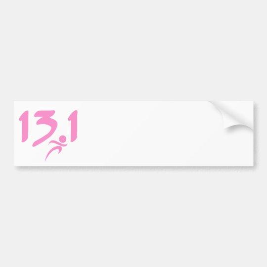 Pink 13.1 half-marathon bumper sticker