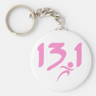 Pink 13.1 half-marathon keychain