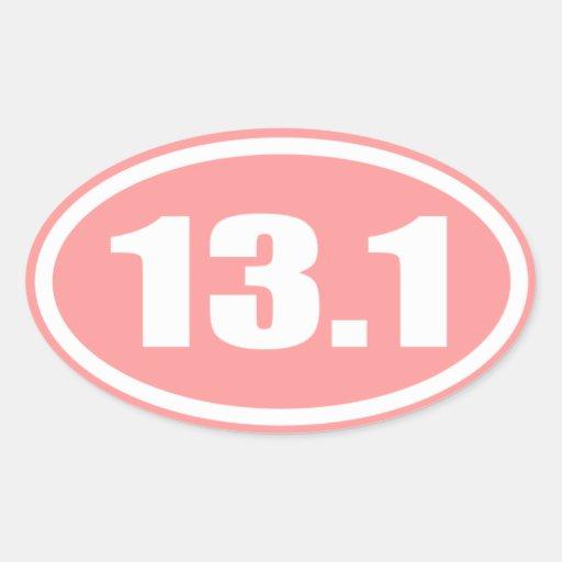 Pink 13.1 Half Marathon Oval Oval Sticker