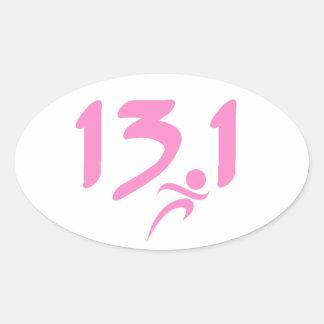 Pink 13.1 half-marathon oval sticker