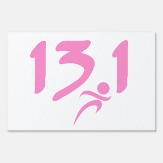 Pink 13.1 half-marathon yard sign