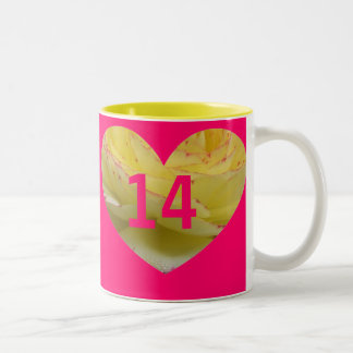 Pink 14th Birthday Heart Gift Mug