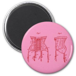 Pink 1908 Corset Illustration Magnet