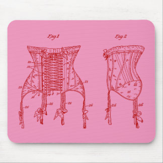 Pink 1908 Corset Illustration Mouse Pad