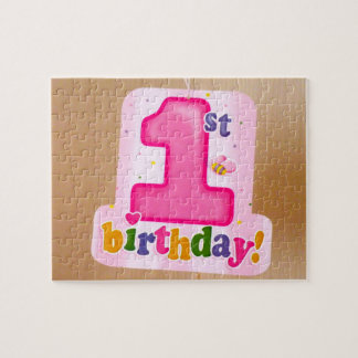 Pink 1st Birthday Tag on Door Jigsaw Puzzle