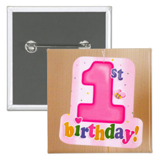 Pink 1st Birthday Tag on Door Pinback Button
