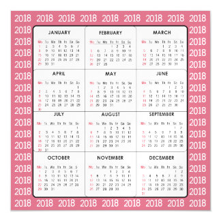 Pink 2018 Calendar Square Magnetic Card