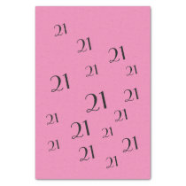 PINK 21st Birthday number pattern Tissue Paper