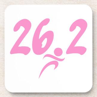 Pink 26.2 marathon beverage coaster