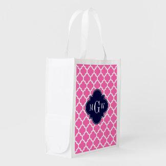 Pink#2 monograma inicial de la marina de guerra 3 bolsas reutilizables