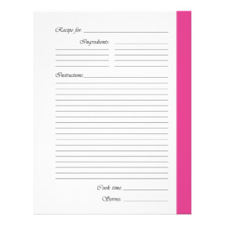 Pink 2-sided Recipe Pages