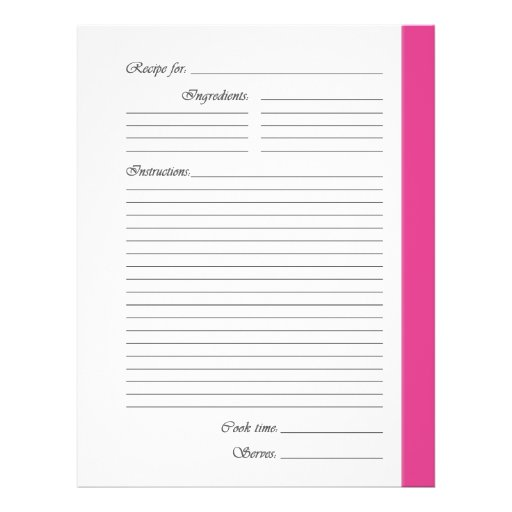 Pink 2-sided Recipe Pages Flyers