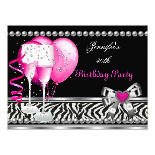 Personalized Pink black zebra party Invitations