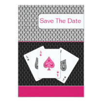 pink 3 aces vegas wedding save the date card
