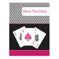 pink 3 aces vegas wedding save the date postcard