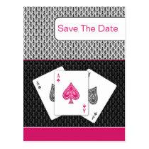 pink 3 aces vegas wedding save the date postcard