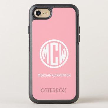Pink 3 Init White Circle Monogram Font DIY BG OtterBox Symmetry iPhone 8/7 Case