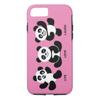 Pink 3 Pandas iPhone 7 Plus, Tough Case