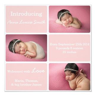 Pink 3 Photo Birth Announcement