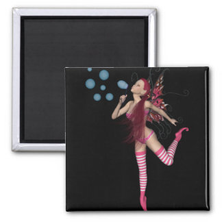 Pink 3D Pixie - Fairy Graphic 1 2 Inch Square Magnet