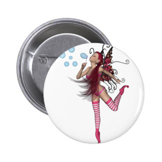 Pink 3D Pixie - Fairy Graphic 1 Pinback Button