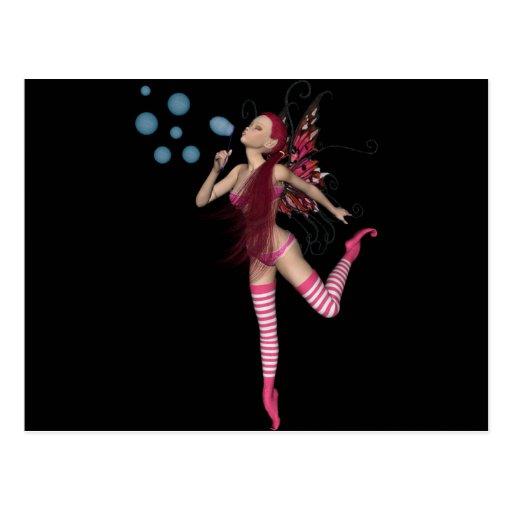 Pink 3D Pixie - Fairy Graphic 1 Postcard