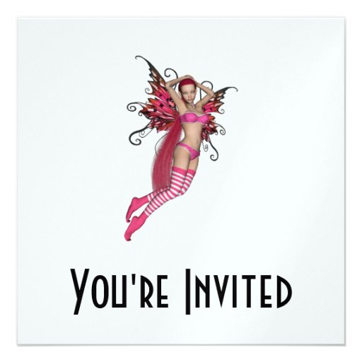 Pink 3D Pixie - Fairy Graphic 2 Personalized Invitations