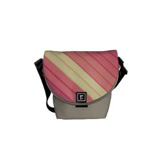 Pink 3D Stripes Messenger Bags