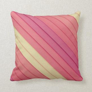 Pink 3D Stripes Throw Pillow