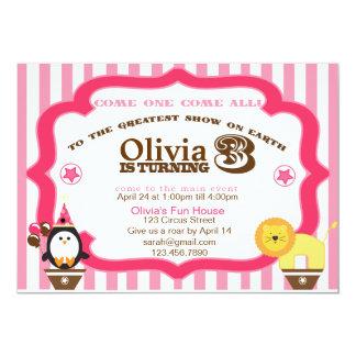 Pink 3rd Birthday Circus Invitation