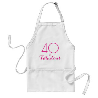 Pink 40 and Fabulous Typography Adult Apron