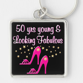PINK 50 YEARS YOUNG AND FABULOUS KEYCHAIN