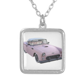 Pink 50's Sports Car Square Pendant Necklace
