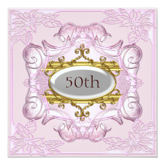 Pink 50th Birthday Anniversary Card