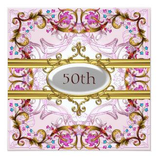 Pink 50th Birthday Anniversary Flower Frame Card