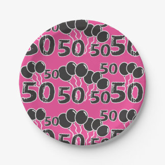 PINK 50th Birthday Paper Plate