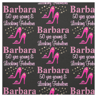 PINK 50TH BIRTHDAY PERSONALIZED SHOE FABRIC